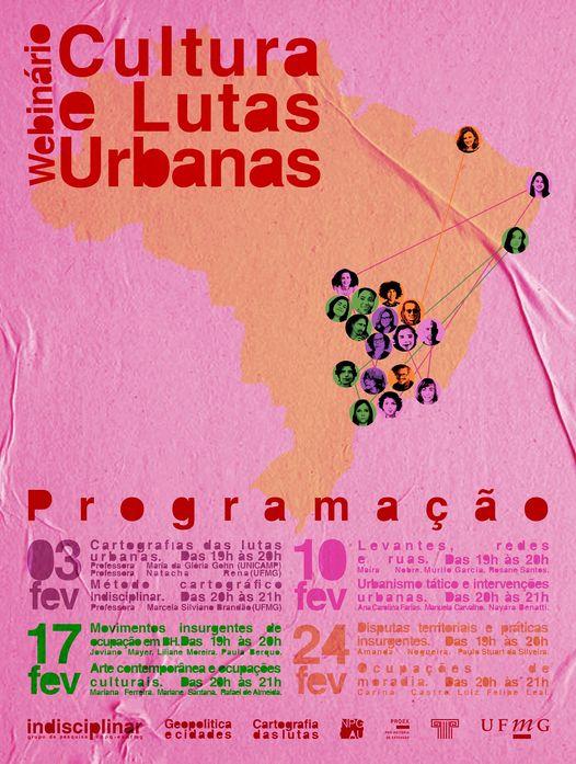 """Programação - 1° Webinário """"Culturas e Lutas Urbanas"""""""